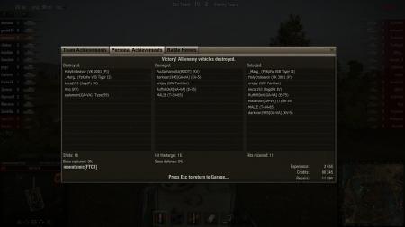 Battle achievments: Steel wall, Sniper