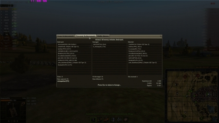 Victory!  Battle: Siegfried Line 16. elokuuta 2012 11:52:19  Vehicle: T-62A  Experience received: 4 368 (x2 for the first victory each day)  Credits received: 103 468  Battle Achievements: Bölter's Medal, Top Gun, Scout, Sniper, Sharpshooter, Master Gunner, Reaper, Mastery Badge: