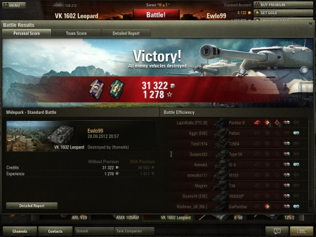 Wish I had the replay. Kills: Panther II and SU 14. Damage: GW Panther. Rest of xp are from spotting.