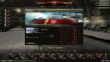 Victory! Battle: Arctic Region den 11 oktober 2012 14:46:47 Vehicle: Lorraine155 50 Experience received: 3 492 (x2 for the first victory each day) Credits received: 48 924 Battle Achievements: Mastery Badge:
