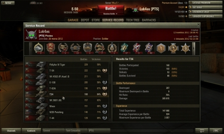 T34 tier 8 premium, record xp of EU serwer