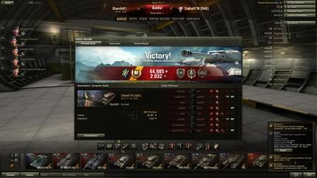Victory! Battle: Himmelsdorf den 4 november 2012 18:05:48 Vehicle: Churchill I Experience received: 2032 Credits received: 44985 Battle Achievements: Steel Wall, Top Gun, Sniper, Master Gunner, Mastery Badge: