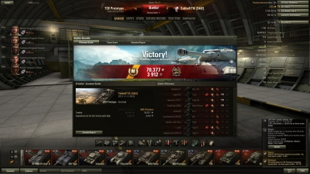 Victory! Battle: El Halluf den 11 november 2012 09:32:08 Vehicle: T28 Prototype Experience received: 3 912 (x2 for the first victory each day) Credits received: 70 377 Battle Achievements: Confederate, Mastery Badge:
