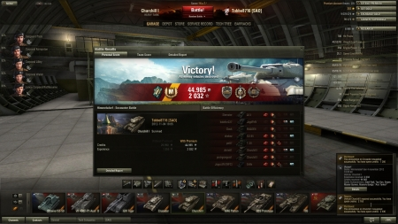 """Victory! Battle: Himmelsdorf den 4 november 2012 18:05:48 Vehicle: Churchill I Experience received: 2 032 Credits received: 44 985 Battle Achievements: Steel Wall, Top Gun, Sniper, Master Gunner, Mastery Badge:"