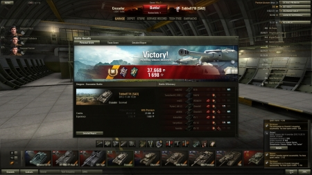 Victory! Battle: Steppes den 4 november 2012 15:20:18 Vehicle: Crusader Experience received: 1 698 Credits received: 37 668 Battle Achievements: Master Gunner, Sharpshooter, Mastery Badge: