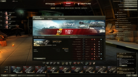 """Victory! Battle: Airfield den 3 november 2012 14:39:34 Vehicle: A13 Covenanter Experience received: 1 708 Credits received: 34 807 Battle Achievements: Mastery Badge:"