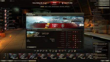 Victory! Battle: Prokhorovka den 3 november 2012 12:39:49 Vehicle: Vickers Medium Mk. III Experience received: 1 281 Credits received: 19 893 Battle Achievements: Top Gun, Mastery Badge:
