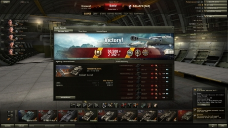 Victory! Battle: Highway den 13 november 2012 18:06:33 Vehicle: Cromwell Experience received: 2392 Credits received: 50500 Battle Achievements: Radley-Walters's medal, Top Gun, Scout, Mastery Badge:
