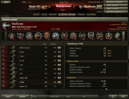 top exp with T-62A