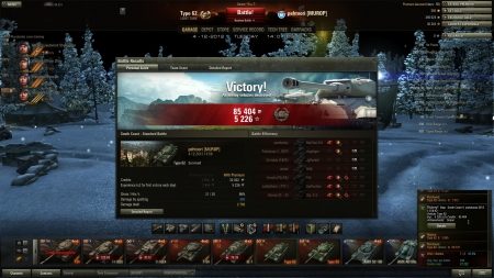 Victory! Map: South Coast 4. joulukuuta 2012 13:58:42 Vehicle: Type 62 Exp: : 5 226 (x2) Credits: : 85 404 Achievements: : Sniper