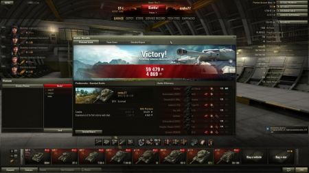 Victory! Battle: Prokhorovka 2012. december 10. 1:37:08 Vehicle: ST-I Experience received: 4869 (x3 for the first victory each day) Credits received: 59479  4 kills 3500 damage 2700 damage upon spotting