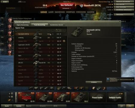 Sieg El Halluf Dienstag, 27. November 2012 12:54:54 Fahrzeug SU-8 Erfahrung: 4.052 (Der erste Sieg des Tages zählt 2-fach) Kreditpunkte: 76.311 Leistungen auf dem Schlachtfeld: Überlegenheitsabz.: