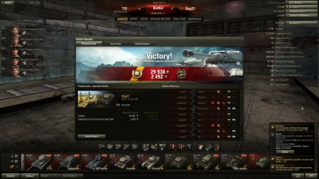 Without Premium  Victory! Battle: Prokhorovka 2012. december 19. 0:05:18 Vehicle: T20 Experience received: 2492 (x2 for the first victory each day) Credits received: 29938 Battle Achievements: Confederate, Mastery Badge: