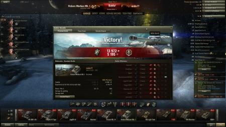 Victory!  Map: Malinovka 2012. december 31. 1:57:38 Vehicle:: Vickers Medium Mk. I Exp: 5195 (x5) + Credits: 13972 Achievements: : Top Gun, Master Gunner