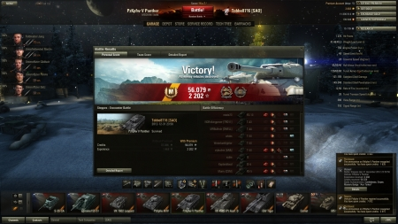 Victory! Battle: Steppes den 31 december 2012 23:50:56 Vehicle: PzKpfw V Panther Experience received: 2202 Credits received: 56079 Battle Achievements: Confederate, Sniper, Mastery Badge: