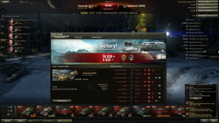 Victory! Battle: Fjords 8. tammikuuta 2013 20:46:17 Vehicle: Cromwell Experience received: 4832 (x2 for the first victory each day) Credits received: 76039 Battle Achievements: Defender, Spartan