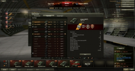 Victory  Map: !Steppes 18. tammikuuta 2013 23:09:43 Vehicle:: Type T-34 Exp: 1738 + Credits: 40305 Achievements: : Crucial Contribution, Radley-Walters's Medal, Top Gun, Defender, Mastery Badge: