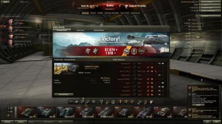 Victory! Battle: Prokhorovka den 20 januari 2013 14:07:33 Vehicle: StuG III Experience received: 1818 Credits received: 87074 Battle Achievements: Radley-Walters's Medal, Top Gun, Sniper, Master Gunner, Reaper