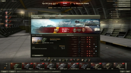 Top Gun, Defender, Sniper and Mastery Badge: Ace Tanker along with 7 kills.