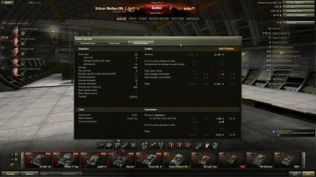 8 kill, 11 detect with tier 1.  Victory! Map:  Malinovka 2013. január 31. 21:31:56 Vehicle: Vickers Medium Mk. I Exp: 3512 (x2) + Credits: 22180  Achievements: : Top Gun, Patrol Duty, Scout  no premium XP would be 1171