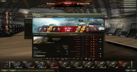 Vítězství!  Mapa:  Doly (Mines) 1. února 2013 22:34:51 Vozidlo: M4 Sherman XP:  3886 + Kreditů: 84810  Úspěchy v bitvě: : Radley-Waltersova medaile, Nicolsova medaile, Válečník, Odstřelovač, Ostrostřelec, Mistr dělostřelec, Rozparovač, Sinajský lev, Vzorný tankista: Hrdina