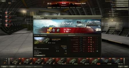 Victory  Map: Dragon Ridge 12. helmikuuta 2013 16:13:28 Vehicle:: WZ-131 Exp: 5160 (x2) + Credits: 74759 Achievements: : Master Gunner, Sharpshooter, Mastery Badge: