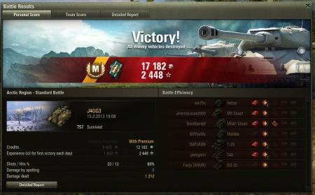 2013 19:08:23 Vehicle: T57 Exp: 2448 (x3) + Credits: 17182  Achievements: : Master Gunner, Mastery Badge: