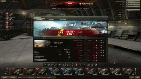 Victory! Battle: El Halluf den 16 februari 2013 18:52:30 Vehicle: T-34-1 Experience received: 2290 Credits received: 63553 Battle Achievements: Sniper, Mastery Badge: