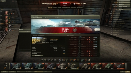 Tho without prem :)  Victory! Battle: Prokhorovka den 4 mars 2013 17:55:20 Vehicle: M4A3E8 Sherman Experience received: 1820 Credits received: 63409 Battle Achievements: Sniper