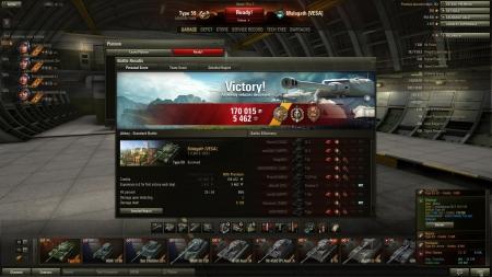 Victory! Map:  Abbey Date: 7. maaliskuuta 2013 19:21:20 Vehicle: Type 59 Exp: 5462 (x2) + Credits: 170005  Achievements: : Fadin's Medal, Top Gun, Defender