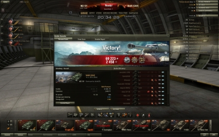Victory! Map: Erlenberg Date: 14. března 2013 20:03:58 Vehicle: WZ-131 Exp: 2 458 + Credits: 69 223 Achievements: : Patrol Duty, Scout, Confederate