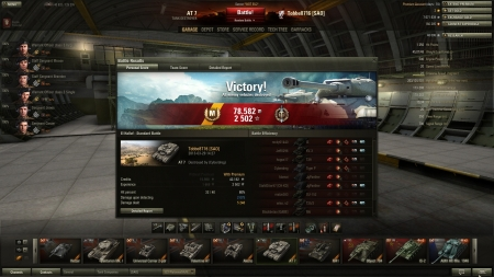Victory! Battle: El Halluf den 29 mars 2013 14:27:36 Vehicle: AT 7 Experience received: 2502 Credits received: 78582 Battle Achievements: Top Gun, Mastery Badge: