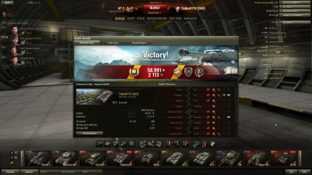 Victory! Battle: Fisherman's Bay den 10 mars 2013 14:32:19 Vehicle: AT 2 Experience received: 2 113 Credits received: 58 991 Battle Achievements: Pool's Medal, Steel Wall, Top Gun, Mastery Badge: