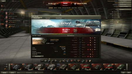 Victory! Battle: Sand River den 17 april 2013 18:45:11 Vehicle: SU-85B Experience received: 2058 Credits received: 40353 Battle Achievements: Confederate