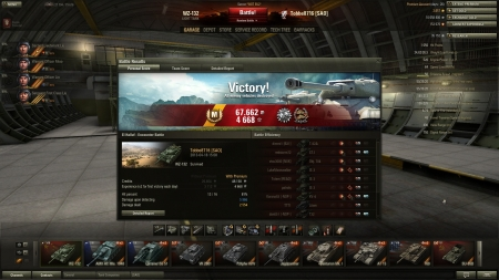 Victory! Battle: El Halluf den 18 april 2013 15:08:49 Vehicle: WZ-132 Experience received: 4668 (x2 for the first victory each day) Credits received: 67662 Battle Achievements: Patrol Duty, Confederate, Mastery Badge: