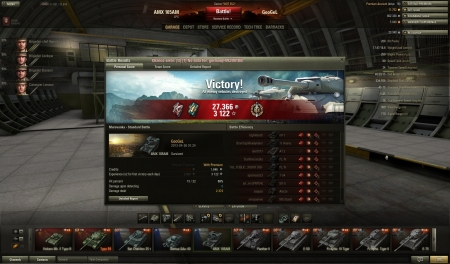 Sort of 1vs4 in the end versus a KV-1 on the flag, M6 back in the woods, SU-5 and a SU-26 hiding somewhere on the map. Popped and burn KV-1, smacked the M6 right after, then I realized I had to go aggressive to stand a chance cause I didn't think the SU's would go ahead and try attack me.  Though, I met them by the water but I managed to snipe the SU-26 way before he could pop me, luckily the SU-5 managed to find himself in a bit of a jam on a corpse while I was cheering and laughing I got up on him from the behind and gave him a shot in the rear.  gg!