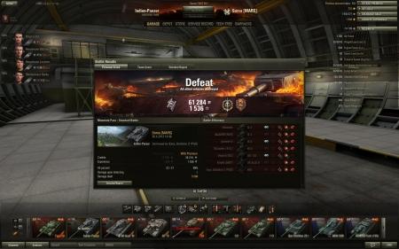 DEFEAT :(  Defeat! Map:  Mountain Pass Date: 26. huhtikuuta 2013 14:46:03 Vehicle: Indien-Panzer Exp: 1536 + Credits: 61284  Achievements: : Top Gun, Defender, Sharpshooter