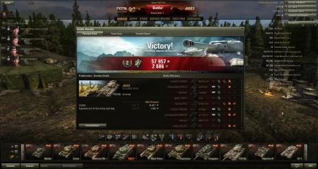 Victory! Map:  Prokhorovka Date: 27. huhtikuuta 2013 13:13:52 Vehicle: FV215b Exp: 2886 (x2) + Credits: 57957  Achievements: : Master Gunner, Mastery Badge: