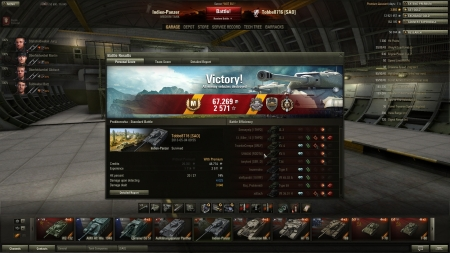 Victory! Battle: Prokhorovka den 4 maj 2013 09:55:02 Vehicle: Indien-Panzer Experience received: 2571 Credits received: 67269 Battle Achievements: Pascucci's Medal, Steel Wall, Top Gun, Mastery Badge: