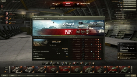 Victory! Battle: Widepark den 28 april 2013 09:13:55 Vehicle: T-80 Experience received: 3806 (x2 for the first victory each day) Credits received: 38808 Battle Achievements: Sniper, Top Gun, Cool-Headed