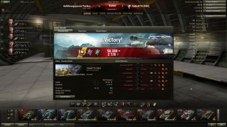 Victory! Battle: Abbey den 24 april 2013 20:13:43 Vehicle: Aufklärungspanzer Panther Experience received: 2176 Credits received: 58408 Battle Achievements: Master Gunner, Sharpshooter, Mastery Badge: