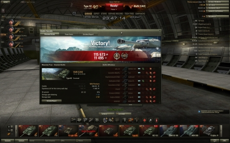 Victory! Map: Mountain Pass Date: 13. května 2013 23:40:54 Vehicle: Type 62 Exp: 11 495 (x5) + Credits: 115 673 Achievements: : Top Gun, Sniper