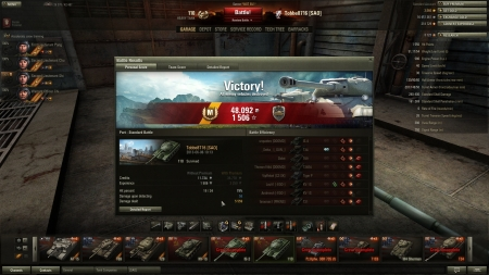 Victory! Battle: Port den 6 juni 2013 10:13:34 Vehicle: 110 Experience received: 1 506 Credits received: 48 092 Battle Achievements: Steel Wall, Mastery Badge: