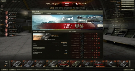 Victory! Battle: Sand River 26 czerwca 2013 22:41:46 Vehicle: JagdPz E-100 Experience received: 2553 Credits received: 113275 Battle Achievements: Steel Wall, Confederate 5 kills, 10,6k dmg  Also sorry for insulting T110E5 commander at the beggining... I just was frustrated, thought it will be another 'ding-game' for my Jagd ;)