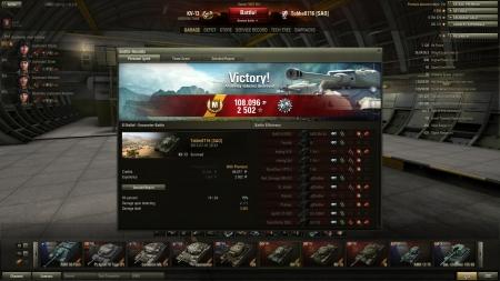 Victory! Battle: El Halluf den 1 juli 2013 20:33:24 Vehicle: KV-13 Experience received: 2502 Credits received: 108096 Battle Achievements: Patrol Duty, Mastery Badge: