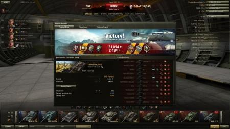 Victory! Battle: Prokhorovka den 13 juli 2013 17:30:45 Vehicle: T54E1 Experience received: 2434 Credits received: 81054 Battle Achievements: De Langlade's Medal, Radley-Walters's Medal, Top Gun, Master Gunner, Hunter, Reaper, Mastery Badge: