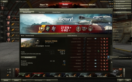 Funny game with T1 in mines. Got really lucky with 13 kills. Made 1114 damage.  Victory! Map:  Mines Date: 30. heinäkuuta 2013 19:14:06 Vehicle: T1 Cunningham Exp: 4442 (x2) + Credits: 27078  Achievements: : Crucial Contribution, Top Gun, Sharpshooter, Master Gunner, Ranger, Mastery Badge: