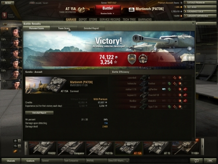 Nice win in AT15A dealing 2.4k damage and some nice spotting as well a great tier 7  TD