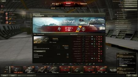 Victory! Battle: Mines 2. elokuuta 2013 2:25:50 Vehicle: BT-2 Experience received: 4106 (x2) Credits received: 27937 Battle Achievements: Pascucci's Medal, Top Gun, Sharpshooter