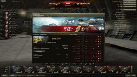 Victory! Battle: Prokhorovka den 24 augusti 2013 10:11:18 Vehicle: Ferdinand Experience received: 14940 (x5) Credits received: 425905 Battle Achievements: Radley-Walters's Medal, Top Gun, Sniper